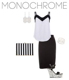 """#Monochrome"" by pilgrimfamily ❤ liked on Polyvore featuring New Look, ShoeDazzle, Kendra Scott, Accessorize, monochrome and funandgirlymonochrome"