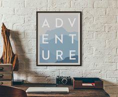 Modern Minimalist Adventure Print Typography Printable Poster Pastel Mountain…