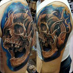Coverup Skull tattoo by Radu Klein