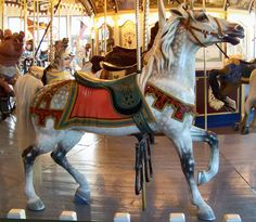 Grand Carousel, Peddlar's Village, Pennsylvania, USA.   An Original Dentzel Outside Row Stander. PTC model #59, c.1922.  © Jean Bennett. Date of picture: September 24, 2009.