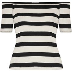 Splendid Off-the-shoulder striped cotton-jersey top (3.270 RUB) ❤ liked on Polyvore featuring tops, black, striped top, slimming tops, striped off the shoulder top, off the shoulder tops and striped off-shoulder tops