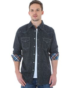 Wrangler 20X Mens Grey Paisley Print Western Snap L/S Shirt