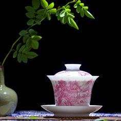 Große 150 ml geschnitzte traditionellen Chinesischen keramikschüssel drei schalen Karmin landschaft box kann gedruckt LOGO sancai gaiwan