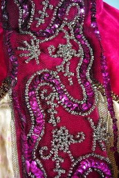 Detail of the embroidery on a c. 1898 dress....