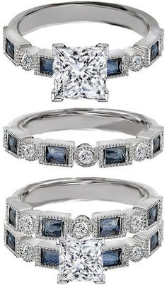 THIS IS GORGEOUS! Princess Cut Diamond Engagement Ring Blue Sapphire Accents & Matching Wedding Ring