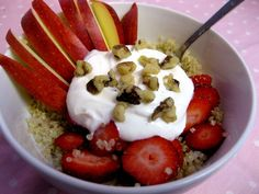 Cooked quinoa, add a little maple syrup and cinnamon, and top with Greek yogurt, tons of diced fresh fruit, and nuts for a filling, fiber-packed bowl
