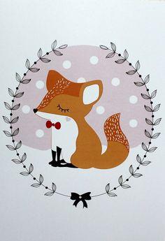 A4 poster / children Illustration Fox by LAMECANIQUEDUBONHEUR