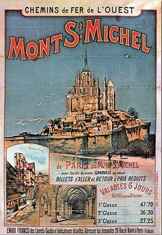 Mont Saint Michel France, Le Mont St Michel, France Art, Ville France, Vintage Beach Posters, Pub Vintage, Kunst Online, Railway Posters, Advertising Poster