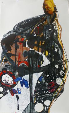 "Mequitta Ahuja - Insemination, Enamel On Paper, 84""X52"" 2008 (Private Collection)"