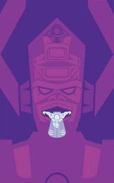 Galactus and Silver Surfer Stylized As Native American Art - looks like galactus has a silver tongue