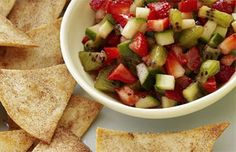 Strawberry and Cucumber Salsa with Cinnamon Tortilla Chips