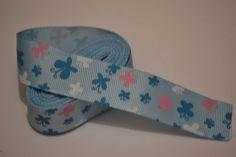 Butterfly Ribbon, 5 yards, 1 inch wide, Butterfly on blue ribbon, Grosgrain ribbon, Hair bow ribbon, Scrapbook ribbon by LusterClusterHairbow on Etsy