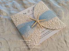 beach wedding invitations with embossed paper, natural starfish and mesh #islandwedding #tropicalwedding #meshinvitation #netinvitation #hibiscusweddinginvitations #beachweddinginvitations