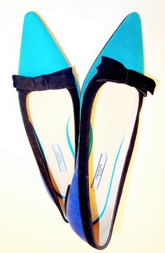 Prada Turquoise Suede Pointed Toe Flats