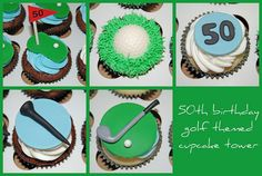 We created these cupcakes for a golf themed cupcake tower for a New Year's Day Birthday celebration. We decorated the cupcakes with 5 . Birthday Cake For Men Easy, Golf Birthday Cakes, Birthday Gifts For Grandma, Birthday Cupcakes, 50th Birthday, Birthday Ideas, Birthday Wishes, Happy Birthday, Golf Cupcakes