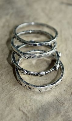 stacking rings of silver metal clay