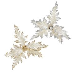 White Holly Ornaments -Set of 2 - Price : $12.95 http://www.perfectlyfestive.com/RAZ-Imports-White-Holly-Ornaments/dp/B008SKKTU0