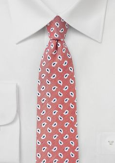 Coral Pink Linen Paisley Tie