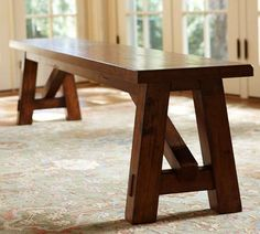 "Toscana Fixed Rectangular Dining Table | Pottery Barn - Bench Small: 70"" wide x 14"" deep x 18"" high"