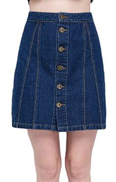 c4d5282d4d ONTBYB Women Single Breasted Denim High Waisted Mini Skirt Blue L    Amazon  most trusted e-retailer