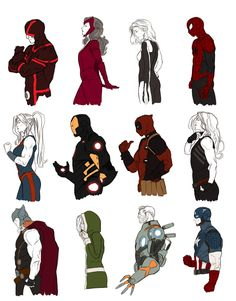 kristaferanka:  my Marvel Now series - updated - about a year of drawing Cyclops - Scarlet Witch - Invisible Woman - Spider-man She-Hulk - I...
