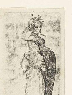 Vrouw met lauwerkrans, Jacques Callot, 1600 - 1699 - Rijksmuseum