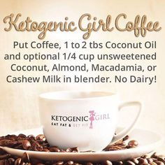 Got the Fall feels? It's a day for cozy latte recipes! This is my Ketogenic Girl Coffee recipe from the #ketogenicgirlchallenge which is completely dairy free and also keeps you energized and stimulates ketones and fat burning! Save it and share, or repost! ☕️ . . . . . Made by the lovely Diane in our facebook challenge coaching group! #latte #Keto #latte #KGC #ketogenicgirlchallenge #fall #fallfeels #ketogeniclife #ketogenicgirl #ketodiet #ketogenicdiet #lchf #sugarfree #gluten... Ketogenic Girl, Ketogenic Recipes, Low Carb Recipes, Latte Recipe, Diet Plan Menu, Eat Fat, Fat Burning Foods, Cookbook Recipes, Coffee Recipes