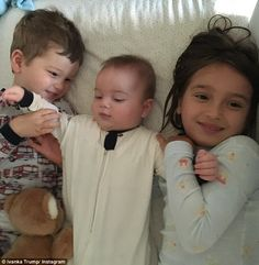Close as can be: On Friday morning, Ivanka shared a photo of Arabella and Joseph cuddling with their five-month-old brother Theodore in his crib