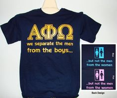 "Rush shirts?! ""We separate the men from the boys...but not the men from the women"""
