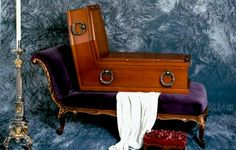 Sitting coffin designed by Surrealist painter René Magritte on display at Vienna's funeral museum.