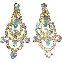 Rare Vintage Signed Sherman Earrings Aurora Borealis..