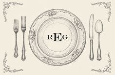Vintage Block Paper Placemats with Block Monogram