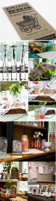 vintage baby shower (free printable templates for cupcake toppers, napkin holders and other party ideas on accenttheparty.com)