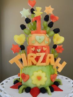 Tirzah's 1st birthday fruit cake.  By far my favorite cake to make.