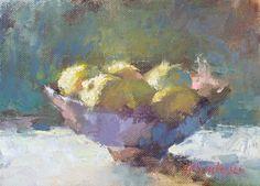 """Ingrid Christensen - """"Luminous Lemons"""", 9x12 inch, Oil on linen on board."""