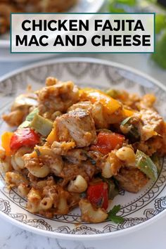 This chicken fajita mac and cheese is some serious comfort food. It is perfect for Sunday suppersoinvite your whole family over for dinner!