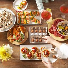 Host an Appetizers-Only Dinner Party: Finger Food Ideas & More from Better Homes and Gardens (party finger foods tapas) Party Finger Foods, Finger Food Appetizers, Appetizers For Party, Appetizer Recipes, Dinner Recipes, Appetizer Ideas, Party Recipes, Dinner Parties, Party Appetisers