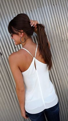 Cream Twist Back Tank | The Rage