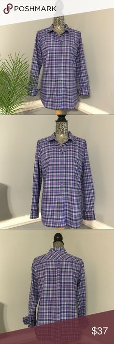 """Talbots Plaid Button Down Shirt EUC Talbots button down shirt in purples and blues hues 💕 It is a nice soft dress shirt with the look of thick flannel without being so...which means it's look Great with dress pants, or jeans 😊 Has three buttons on each sleeve(pic 4) Size Medium it measures just about 21"""" across chest laying flat and is about 27.75"""" in length from shoulder to bottom...bundle to save more plus ⚡️📦📫😄💕 Talbots Tops Button Down Shirts"""