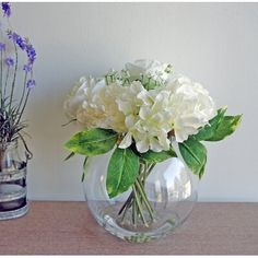 Highland Dunes Hydrangea Floral Arrangement in Vase Flower Color: White/Lemon Home Flower Decor, Fake Flowers Decor, Colorful Flowers, Beautiful Flowers, Flower Centerpieces, Flower Vases, Flower Decorations, Hydrangea Vase, White Planters