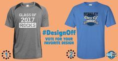 Twice the celebration… Which design would you wear? #DesignOff #ClassOf #Seniors #2017