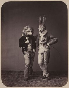 Vintage photo love the rabbit mask