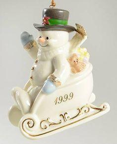 1999 Lenox Annual Snowman-Ornament Sleigh Full Of Smiles - Boxed Snowman Ornaments, Christmas Ornaments, Lenox Christmas, Button Nose, Frosty The Snowmen, Seasonal Decor, Snow Globes, Cake, Desserts