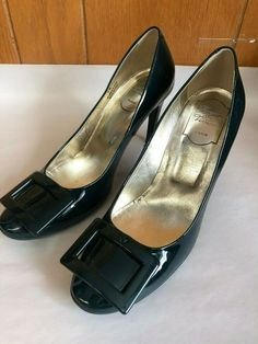 ENDING SOON:  ROGER VIVIER Forest Green Patent Leather Pumps! Size 38, Buckle Front. AMAZING! #shoes #designer Roger Vivier, Designer Heels, Patent Leather Pumps, Pointed Toe Pumps, Types Of Shoes, Things To Sell, Brown, Amazing, Brown Colors