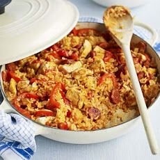 Spanish meatballs with clams chorizo squid recipe bbc good food chicken chorizo jambalya a cajun inspired rice pot recipe with spicy spanish sausage sweet peppers and tomatoes forumfinder Choice Image