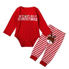 Unisex Baby Clothing 2016 Christmas Newborn Baby Rompers + Striped Pants Long Sleeve Girls Boys Baby Clothes Sets Red Outfits #>=#>=#>=#>=#> Click on the pin to check out discount price, color, size, shipping, etc. Save and like it!