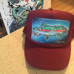 Monochrome Trucker Hat with Trout Dreams Patch