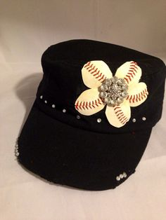 Baseball Flower hat. Softball flower hat by AWingandABead on Etsy, $25.00