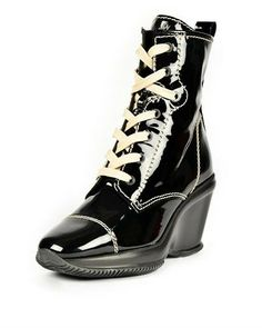 Hogan Patent Leather Lace-Up Booties - Booties - Shoes at Viomart.com