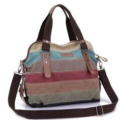 Rainbow Color Fashion Messenger Bags Canvas Super patchwork handbag 2016 Shopping Totes Handbags Casual Shoulder Bag Tote Bolsas #CLICK! #clothing, #shoes, #jewelry, #women, #men, #hats, #watches